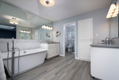 Fremont White and Silver Master Bath
