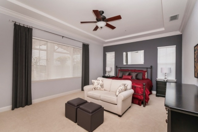 Livermore Gray and Red Master Bedroom