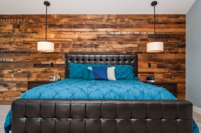Fremont Master Bedroom with Reclaimed Wood Accent Wall